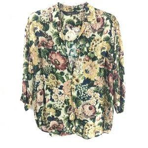 4/25 Zara Womens Floral Print Blouse Shirt  Loose